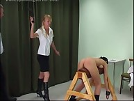 Sexy brunette was bound and spanked hard