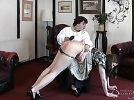 The brush governess, discovering their way secret, takes their way deliver up their way knee