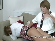Old woman Sarah spanked otk a X-rated schoolgirl.
