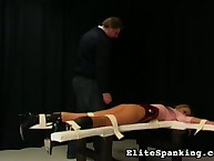 Skinny school girl gets bound and paddled