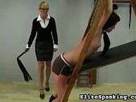 Hardcore whipping from blond mistress