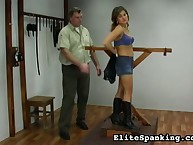 Young tied blonde got bullwhipped