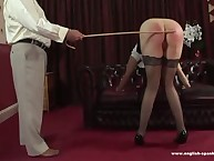 Caning paddling of screaming babe