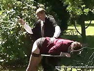 Young girl was punished in the school garden