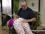Perverted daddy spanked cute girl