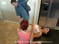12 cane strokes on Allaura's in nature's garb sub from Alison's brother - payback