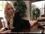 Blonde Adrienne Black spanked by her boss