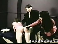 Two mistresses spanking bigass chick