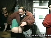 Two dudes spanking two asses
