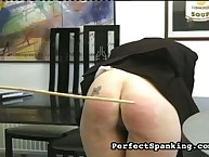 Naughty tattooed booty got caned