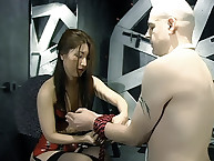 Pale guy abused by mistress
