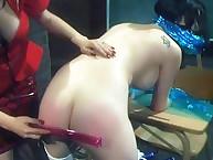 Abused brunette was spanked hard