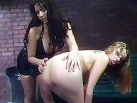 Lesbian abusing with rough spanking
