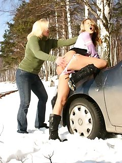 20 of Mom pulls over and takes teens panties down